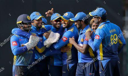Stock Photo of Sri Lankan team members celebrate the dismissal of Bangladeshi batsman Sabbir Rahman during the second one-day international cricket match between Sri Lanka and Bangladesh in Colombo, Sri Lanka