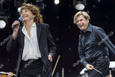 Jane Birkin (L) performs on the main stage, during the 44th edition of the Paleo Festival in Nyon, Switzerland, 28 July 2019. The Paleo is an open-air music festival in the western part of Switzerland that runs from 23 to 28 July.