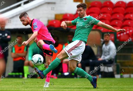 Cork City vs Shamrock Rovers. Jack Byrne of Shamrock Rovers in action against Cork City's Gearoid Morrissey