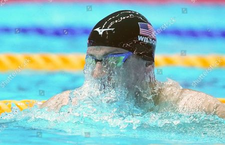 Andrew Wilson (USA) during the Men's 4x100m Medley Relay Final