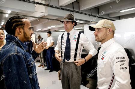 Motorsports: FIA Formula One World Championship 2019, Grand Prix of Germany,  #44 Lewis Hamilton (GBR, Mercedes AMG Petronas Motorsport), Toto Wolff (AUT, Mercedes AMG Petronas Motorsport), #77 Valtteri Bottas (FIN, Mercedes AMG Petronas Motorsport),