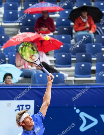 Cedrik-Marcel Stebe of Germany in action against Albert Ramos-Vinolas of Spain during their final match of the Swiss Open tennis tournament in Gstaad, Switzerland, 28 July 2019. Ramos-Vinolas won the final.