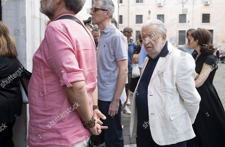 Italian film director, Pupi Avati (R), arrives to pay respect in the chapel where the Carabinieri officer slain on 26 July was laid in state, in Rome, Italy, 28 July 2019. In a statement on 28 July, Carabinieri officers investigating the death of Mario Cerciello Rega, 35, said two young American tourists have been detained for alleged murder and attempted extortion.