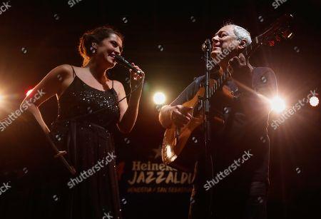 Silvia Perez Cruz (L) and Brazilian singer Toquinho (R) perform during the 54th San Sebastian Jazz Festival, in San Sebastian, Basque Country, Spain, 28 July 2019.