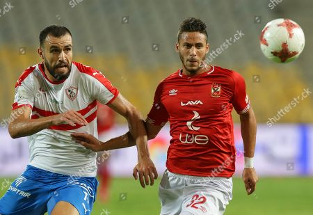 Stock Picture of Al Ahly's Ramadan Sobhi (R) in action against Zamalek's Hamdi El-Nagguez (L) during the Egyptian League soccer match between Al Ahly SC and Zamalek SC at Borg Al-Arab Stadium in Alexandria, Egypt, 28 July 2019.