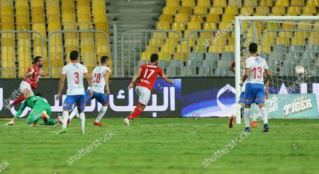 Al Ahly's Ali Maaloul (L) scores the 1-0 lead during the Egyptian League soccer match between Al Ahly SC and Zamalek SC at Borg Al-Arab Stadium in Alexandria, Egypt, 28 July 2019.