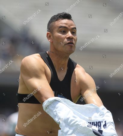 Pumas' Pablo Barrera celebrates a goal during the Torneo Apertura 2019 second day match between Pumas and Necaxa at the Olympic Stadium, in Mexico City, Mexico, 28 July 2019.