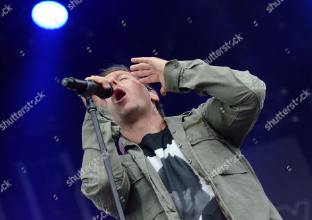 Stock Photo of Lead singer Raine Maida of the band Our Lady Peace performs live at Fox Cities Stadium in Appleton, Wisconsin