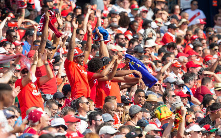 Benfica fans cheer after Benfica midfielder Adel Taarabt scored against AC Milan during the second half of Benfica's 1-0 win over AC Milan in their International Champions Cup match held at Gillette Stadium in Foxboro, Massachusetts, USA 28 July 2019.