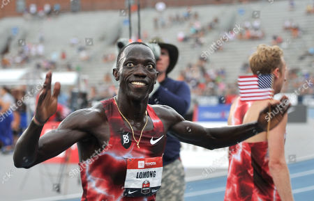 Stock Photo of Lopez Lomong wins the Men's 5000m at the US Track and Field Championships at Drake Stadium on the campus of Drake University in Des Moines, Iowa, USA, 28 July 2019.