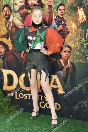 "Stock Image of Ella Anderson attends the LA premiere of ""Dora and the Lost City of Gold"" at Regal Cinemas L.A. LIVE, in Los Angeles"