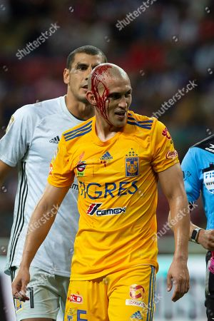 Jorge Torres Nilo of Tigres UANL is injured during the Apertura Tournament soccer match held at Akron Stadium, in Guadalajara, Mexico, 28 July 2019.