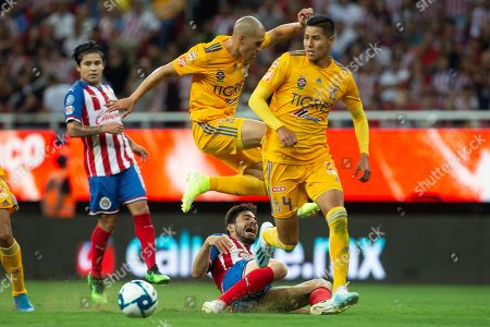 Antonio Briseno (below) of Chivas in action against Jorge Torres (above) and Hugo Ayala (R) of Tigres UANL during the Apertura Tournament soccer match held at Akron Stadium, in Guadalajara, Mexico, 28 July 2019.