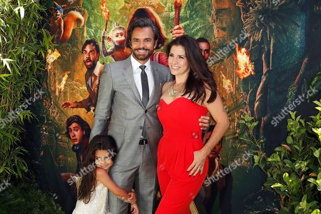 Alessandra Rosaldo (L), her father Mexican actor/cast member Eugenio Derbez (C) and his wife Aitana Derbez (R) arrive for the premiere of 'Dora and the Lost City of Gold' at the Regal Cinemas LA Live in Los Angeles, California, USA, 28 July 2019. The movie opens in the USA on 09 August 2019.