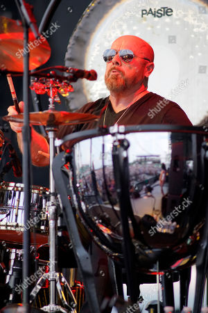 """Jason Bonham performs an opening act during """"Peter Frampton's Finale - The Farewell Tour"""" at Huntington Bank Pavilion, in Chicago"""
