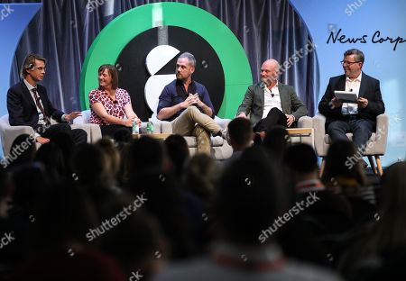 Stock Picture of Julian Delany (Managing Director, News DNA, News Corp Australia), Gayle Tomlinson (Head of Audience, Australian Community Media), Olly Wilton (Head of Sports Partnerships, Twitter), Ben Sharp (Regional Sales Director, Salesforce) and David Hovenden (Editor in Chief, B&T)