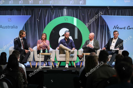 Julian Delany (Managing Director, News DNA, News Corp Australia), Gayle Tomlinson (Head of Audience, Australian Community Media), Olly Wilton (Head of Sports Partnerships, Twitter), Ben Sharp (Regional Sales Director, Salesforce) and David Hovenden (Editor in Chief, B&T)