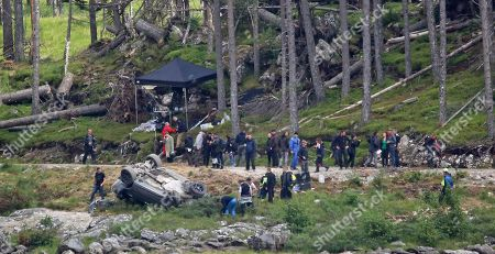 Stock Image of Crash scene being filmed for the new James Bond movie at Ardverikie Estate in the Highlands where a Range Rover is forced off the road by another 4x4.