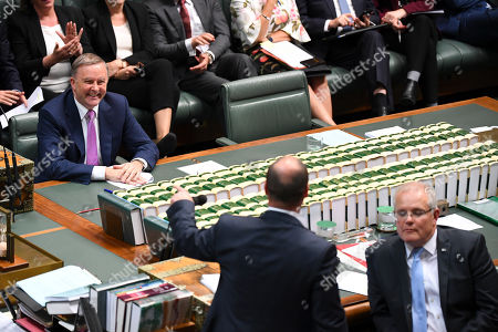 Australian Opposition Leader Anthony Albanese (L) reacts during House of Representatives Question Time at Parliament House in Canberra, Australia, 29 July, 2019.