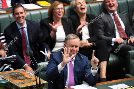 Australian Opposition Leader Anthony Albanese reacts during House of Representatives Question Time at Parliament House in Canberra, Australia, 29 July, 2019.