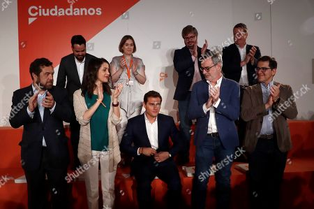 Ciudadanos (Citizens) party's leader Albert Rivera (C) is applauded by other members of party's General Council, including Miguel Gutierrez (L, fron), Ines Arrimadas (2-L, front) and Jose Manuel Villegas (2-R, front), during an extraordinary meeting in Madrid, Spain, 29 July 2019. The meeting is focused on increasing the members of the party's national executive committee up to 50, which will allow to include allies of Rivera, after some party's members left Ciudadanos disagreeing the party's decision of not supporting the investiture of acting Prime Minister Pedro Sanchez (unseen).