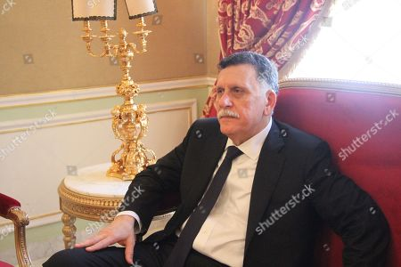 Libya's UN-recognised Prime Minister Fayez al-Sarraj during the late Tunisian president Beji Caid Essebsi's state funeral at the presidential carthage palace in Tunis