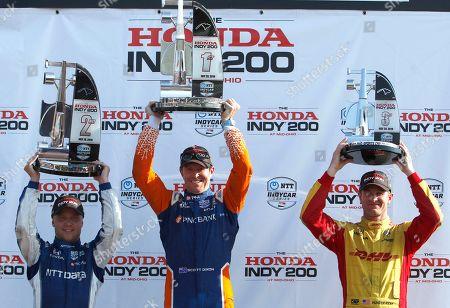 Scott Dixon, Felix Rosenqvist, Ryan Hunter-Reay. Scott Dixon, center, celebrates winning the IndyCar Series auto race at Mid-Ohio Sports Car Course with second place finisher teammate Felix Rosenqvist, left, and third place finisher Ryan Hunter-Reay, in Lexington, OH