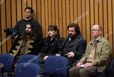 Harvey Guillen as Guillermo, Kayvan Novak as Nandor, Natasia Demetriou as Nadja, Matt Berry as Laszlo and Mark Proksch as Colin Robinson