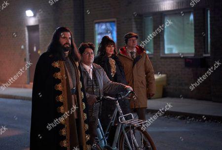 Kayvan Novak as Nandor, Harvey Guillen as Guillermo, Natasia Demetriou as Nadja and Mark Proksch as Colin Robinson