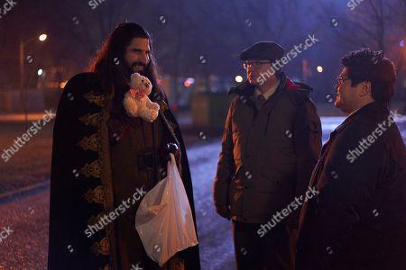 Stock Photo of Kayvan Novak as Nandor, Mark Proksch as Colin Robinson and Harvey Guillen as Guillermo