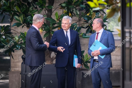 Stock Photo of King Philippe of Belgium, Didier Reynders, Johan Vande Lanotte