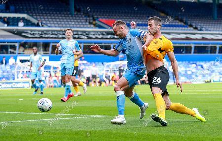 Liam Kelly holds off Harry Lennon. 2nd half. Coventry City v Southend United, EFL 1