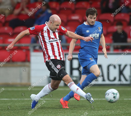 Derry City vs Waterford. Derry City's Grant Gillespie and Waterford's John Kavanagh