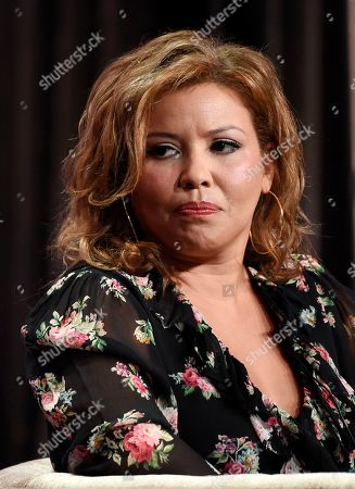 "Justina Machado, a participant in the PBS series ""Finding Your Roots,"" takes part in a panel discussion during the 2019 Television Critics Association Summer Press Tour at the Beverly Hilton, in Beverly Hills, Calif"
