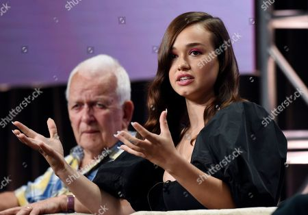 """Rose Williams, a cast member in the PBS Masterpiece series """"Sanditon,"""" speaks during a panel discussion alongside the show's writer/executive producer Andrew Davies during the 2019 Television Critics Association Summer Press Tour at the Beverly Hilton, in Beverly Hills, Calif"""