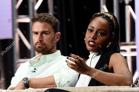 "Stock Photo of Theo James, Crystal Clarke. Theo James, left, and Crystal Clarke, cast members in the PBS Masterpiece series ""Sanditon,"" participate in a panel discussion during the 2019 Television Critics Association Summer Press Tour at the Beverly Hilton, in Beverly Hills, Calif"