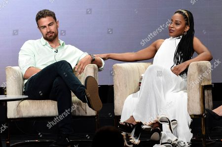"Theo James, Crystal Clarke. Theo James, left, and Crystal Clarke, cast members in the PBS Masterpiece series ""Sanditon,"" take part in a panel discussion during the 2019 Television Critics Association Summer Press Tour at the Beverly Hilton, in Beverly Hills, Calif"
