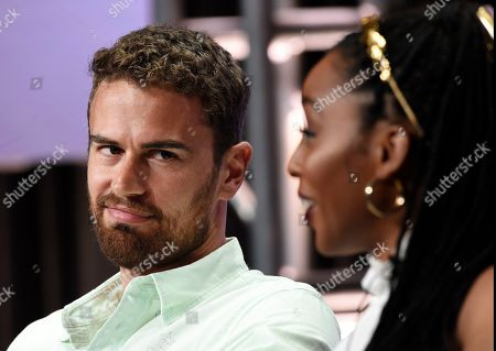"Theo James, Crystal Clarke. Theo James, left, a cast member in the PBS Masterpiece series ""Sanditon,"" looks over at fellow cast member Crystal Clarke during a panel discussion at the 2019 Television Critics Association Summer Press Tour at the Beverly Hilton, in Beverly Hills, Calif"