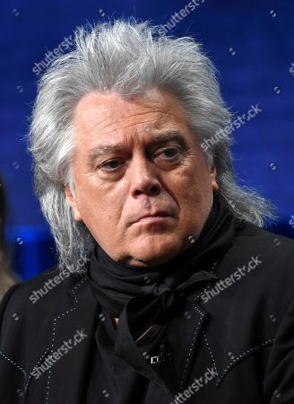 """Country music performer Marty Stuart, featured in the upcoming PBS documentary series """"Country Music,"""" takes part in a panel discussion during the 2019 Television Critics Association Summer Press Tour at the Beverly Hilton, in Beverly Hills, Calif"""