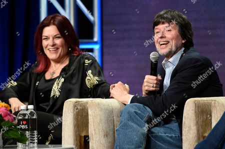 "Stock Image of Ken Burns, Roseanne Cash. Ken Burns, right, director of the upcoming PBS documentary series ""Country Music,"" takes part in a panel discussion with participant Roseanne Cash during the 2019 Television Critics Association Summer Press Tour at the Beverly Hilton, in Beverly Hills, Calif"