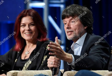 "Roseanne Cash, Ken Burns. Ken Burns, right, director of the upcoming PBS documentary series ""Country Music,"" takes part in a panel discussion alongside country music performer Roseanne Cash during the 2019 Television Critics Association Summer Press Tour at the Beverly Hilton, in Beverly Hills, Calif"