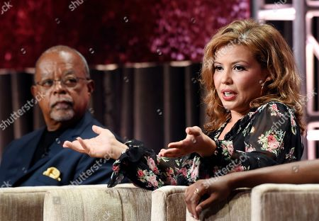 "Justina Machado, Henry Louis Gates Jr. Actress Justina Machado, right, a participant in the PBS series ""Finding Your Roots,"" takes part in a panel discussion with host and executive producer Dr. Henry Louis Gates Jr., during the 2019 Television Critics Association Summer Press Tour at the Beverly Hilton, in Beverly Hills, Calif"