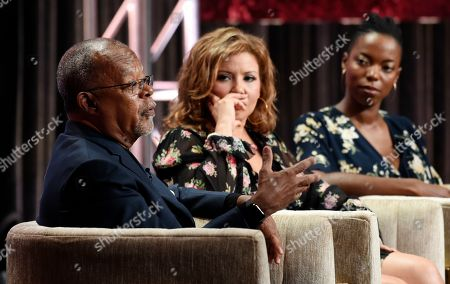 "Henry Louis Gates Jr., Sasheer Zamata, Justina Machado. Dr. Henry Louis Gates Jr., left, host and executive producer of the PBS series ""Finding Your Roots,"" answers a question as series participants Justina Machado, center, and Sasheer Zamata look on during the 2019 Television Critics Association Summer Press Tour at the Beverly Hilton, in Beverly Hills, Calif"