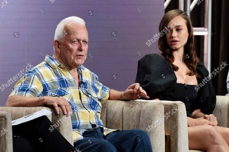 """Andrew Davies, Rose Williams. Andrew Davies, left, the writer/executive producer of the PBS Masterpiece series """"Sanditon,"""" takes part in a panel discussion alongside cast member Rose Williams during the 2019 Television Critics Association Summer Press Tour at the Beverly Hilton, in Beverly Hills, Calif"""