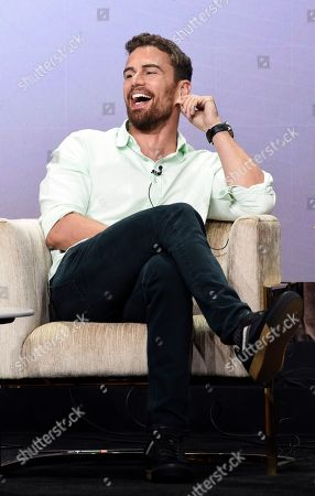 "Theo James, a cast member in the PBS Masterpiece series ""Sanditon,"" takes part in a panel discussion during the 2019 Television Critics Association Summer Press Tour at the Beverly Hilton, in Beverly Hills, Calif"