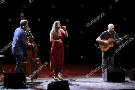 Spanish bass player Javier Colina, Spanish singer Silvia Perez Cruz and Brazilian singer and composer Toquinho perform on stage during their concert in the framework of the Universal Music Fest at the Spanish Royal Theater in Madrid, Spain, 29 July 2019.