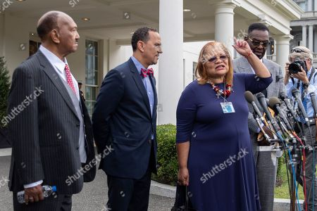 Alveda King, Bill Owens, Harry Jackson, Dean Nelson, Donald Trump. Alveda King, third from left, niece of civil rights leader Martin Luther King Jr., along with religious leaders, from left, Rev. Bill Owens, Rev. Dean Nelson and Bishop Harry Jackson, speaks to reporters following a meeting with President Donald Trump at the White House in Washington
