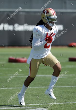 Stock Picture of San Francisco 49ers' Jason Verrett jogs at the team's NFL football training camp in Santa Clara, Calif