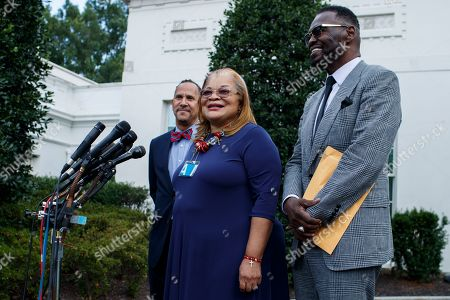 Stock Photo of Alveda King (C), niece of Dr. Martin Luther King Jr., with senior pastor of Hope Christian Church Harry Jackson Jr (R) and Executive Director of Human Coalition Reverend Dean Nelson (L), responds to questions from the News media following a meeting with US President Donald J. Trump at the White House in Washington, DC, USA, 29 July 2019. Earlier in the day President Trump attacked the Rev. Al Sharpton and called him 'a con man' and that he 'Hates Whites ands Cops'. Sharpton held a news conference in Baltimore on the same morning to decry President Trump's weekend tweets directed at the city and congressman Elijah Cummings.