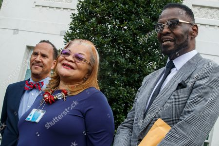 Alveda King (C), niece of Dr. Martin Luther King Jr., with senior pastor of Hope Christian Church Harry Jackson Jr (R) and Executive Director of Human Coalition Reverend Dean Nelson (L), responds to questions from the News media following a meeting with US President Donald J. Trump at the White House in Washington, DC, USA, 29 July 2019. Earlier in the day President Trump attacked the Rev. Al Sharpton and called him 'a con man' and that he 'Hates Whites ands Cops'. Sharpton held a news conference in Baltimore on the same morning to decry President Trump's weekend tweets directed at the city and congressman Elijah Cummings.